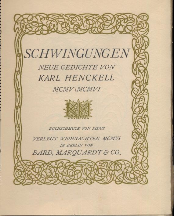 Schwingungen Neue Gedichte Mcmvmcmvi Buchschmuck Von Fidus Versand Antiquariat Rainer Richner